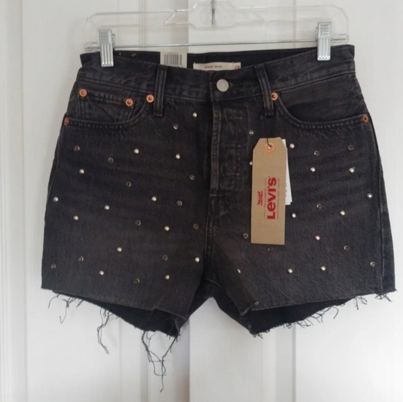 Levis Wedgie Fit Black High Rise Jean Shorts 24